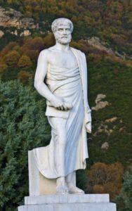 Maddeyi sadece düşünsel olarak açıklamaya çalışan Aristo'nun (MÖ. 384-322) bir heykeli