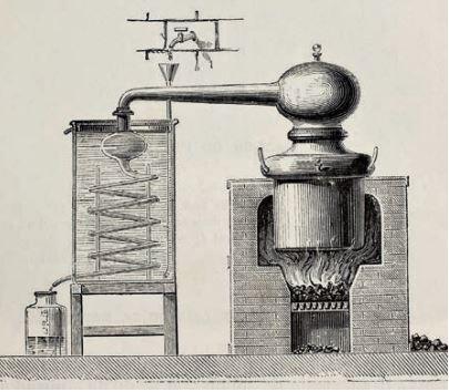 Damıtma işlemi için tasarlanan imbik
