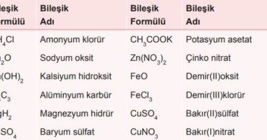 İyonik bileşiklerde adlandırılma örnekleri